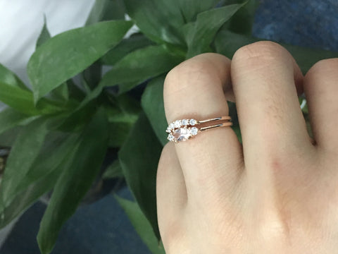 Reserved for Misty,payments, Oval Morganite Ring Bridal Sets Contoured Diamond Wedding Band 14K Gold
