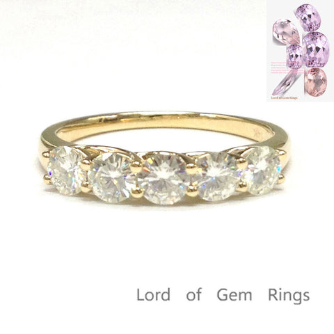 Ready to Ship-5 Stone Moissanite Wedding Band Engagement Ring in 14K Yellow Gold - Lord of Gem Rings - 1