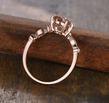 Oval Morganite Engagement Ring Pave Diamond Wedding 14K Rose Gold 6x8mm Art Deco - Lord of Gem Rings - 2
