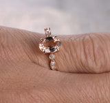 Oval Morganite Engagement Ring Pave Diamond Wedding 14K Rose Gold 6x8mm Art Deco - Lord of Gem Rings - 3