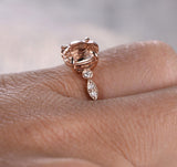 Oval Morganite Engagement Ring Pave Diamond Wedding 14K Rose Gold 6x8mm Art Deco - Lord of Gem Rings - 4