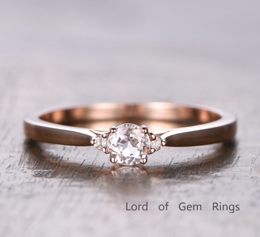 Round Morganite Engagement Ring Moissanite Wedding 14K Rose Gold 5mm - Lord of Gem Rings - 1