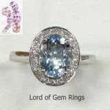 Oval Aquamarine Engagement Ring Pave Diamond Halo 14K White Gold 6x8mm - Lord of Gem Rings - 6