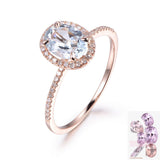 Oval Aquamarine Engagement Ring Pave Diamond Wedding 14K Rose Gold 6x8mm - Lord of Gem Rings - 1