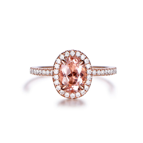1ct Oval Morganite Ring Pave Diamond 14K  Gold 5x7mm CLAW PRONGS