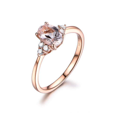 18k Rose Gold 5x7mm Oval Morganite Engagement Ring Accent Diamond Engagement Ring