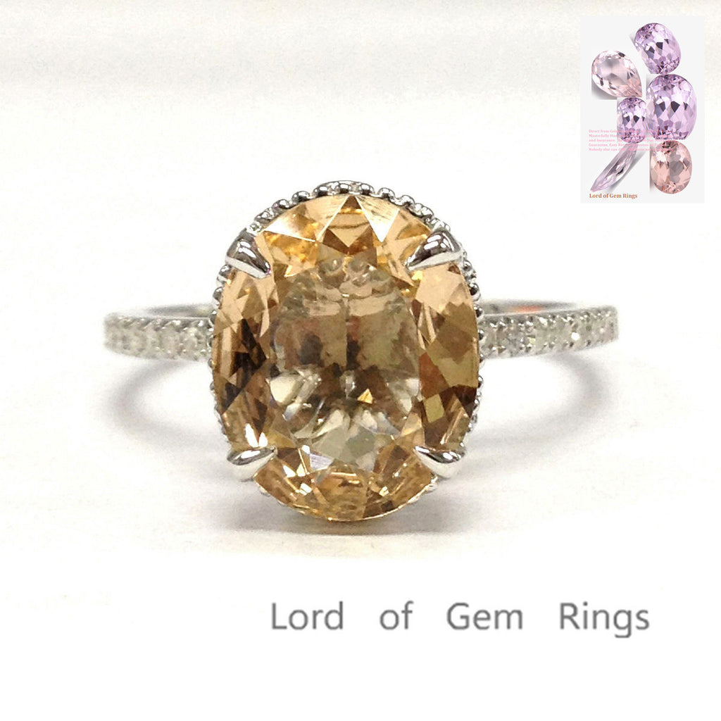 Oval Morganite Engagement Ring Pave Diamond Wedding 14K White Gold 9x11mm Milgrain Undergallery - Lord of Gem Rings - 1