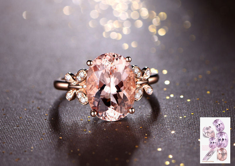 Oval Morganite Engagement Ring Diamond Wedding 14K Rose Gold 10x12mm Butterfly Shank - Lord of Gem Rings - 2
