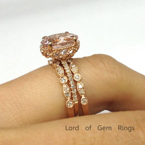 Oval Morganite Engagement Ring Trio Sets Pave Diamond Wedding 14K Rose Gold 9x11mm - Lord of Gem Rings - 1