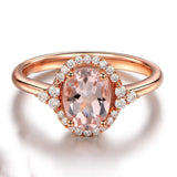 Oval Morganite Engagement Ring Diamond Halo 14K Rose Gold 6x8mm - Lord of Gem Rings - 1