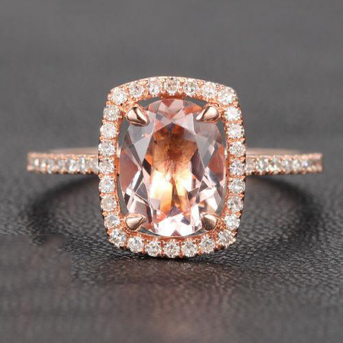 7x9mm Cushion Halo Oval Morganite Engagement Ring Pave Diamond Wedding 14K Rose Gold