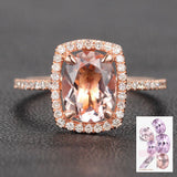 Reserved for Yama, Oval Morganite Engagement Ring  10K Rose Gold - Lord of Gem Rings - 2