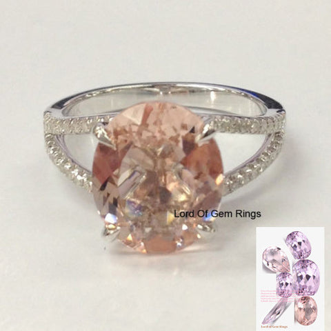 Oval Morganite Engagement Ring Pave Diamond Wedding 14K White Gold Split Shank10x12mm - Lord of Gem Rings - 1