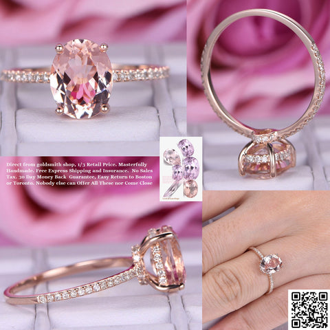 Reserved for carly  Pear Morganite Ring Diamond Under Halo 14K Rose Gold 7x10mm