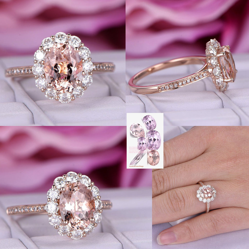Reserved for AAA 2.2mm Diamond Halo Semi Mout Ring 14K Rose Gold 6x8mm Oval