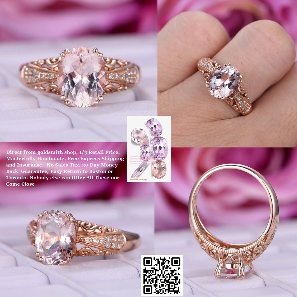 $698 Oval Morganite Engagement Ring vintage swirls filigree 14K Rose ...