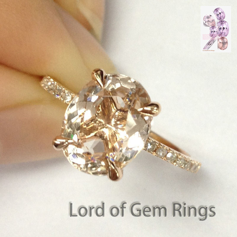 Oval Morganite Engament Ring Pave Diamond Wedding 14k Rose Gold 7x9mm - Lord of Gem Rings - 1