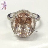 Oval  Morganite Engagement Ring Pave Diamond Halo 14K White Gold 10x12mm - Lord of Gem Rings - 1