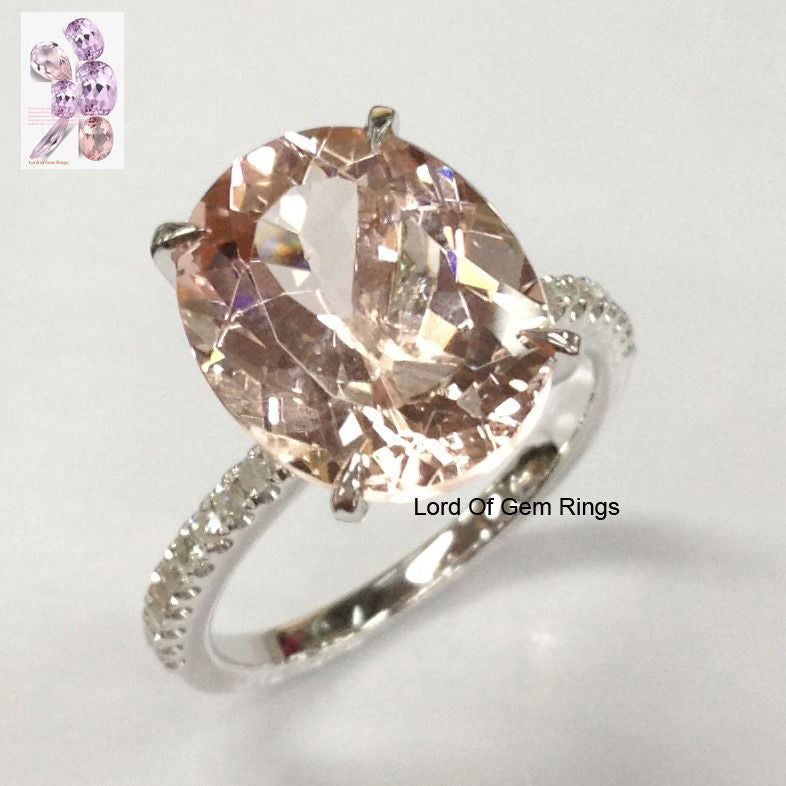 Oval Morganite Engagement Ring Pave  Diamond Wedding 14K White Gold 10x12mm - Lord of Gem Rings - 1