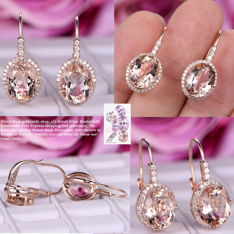 Reserved for Boris  Oval Morganite Leverback Earrings Pave Diamond Halo 14K Rose gold 8x10mm
