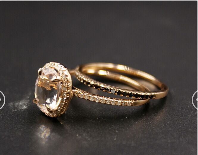 Reserved for itu, oval morganite ring with Black diamond Wedding Set - Lord of Gem Rings