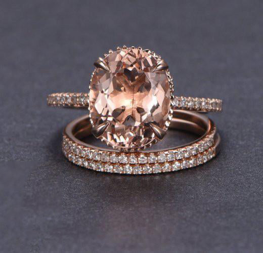 Oval Morganite Engagement Ring Sets Pave Diamond Wedding 14K Rose Gold 10x12mm - Lord of Gem Rings - 1