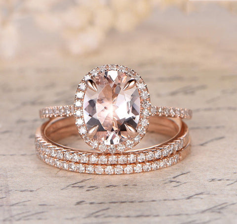 oval morganite engagement ring pave diamond wedding 3 rings sets 14k rose gold 7x9mm lord - Morganite Wedding Ring Set