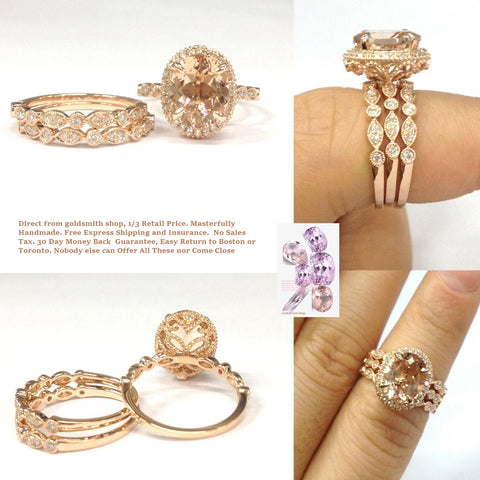 Reserved for Dereke. payments Oval Morganite Engagement Ring Trio Sets 14K Rose Gold Milgrain Under Gallery 8x10mm