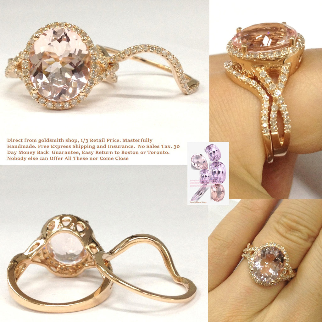 Reserved for MJD Contour Diamond Band for Morganite Ring with  Infinite Love Shank14K Rose Gold
