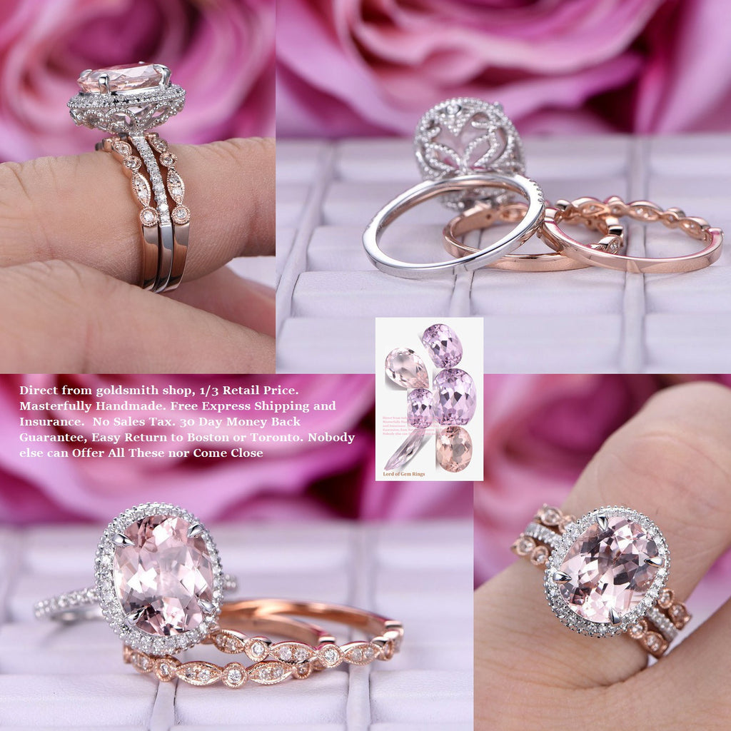 Reserved for Alecia  Elongated Oval Morganite Engagement Ring Bridal set 14K Rose Gold Milgrain Under Gallery 10x14mm