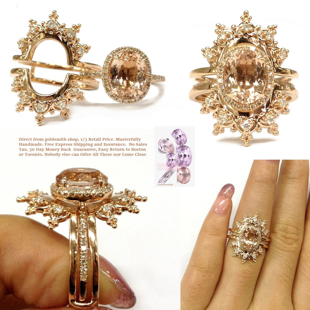 1035 Oval Morganite Engagement Ring Sets Moissanite Tiara Ring