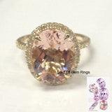 Oval  Morganite Engagement Ring Pave Diamond Wedding 14K Yellow Gold 10x12mm - Lord of Gem Rings - 1