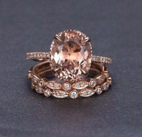 Oval Morganite Engagement Ring Sets Art Deco Bands Milgrain Under Gallery 14K Rose Gold 10x12mm
