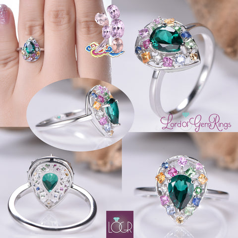 Pear Emerald Ring Sapphire Floral Wreath Halo 14K Gold