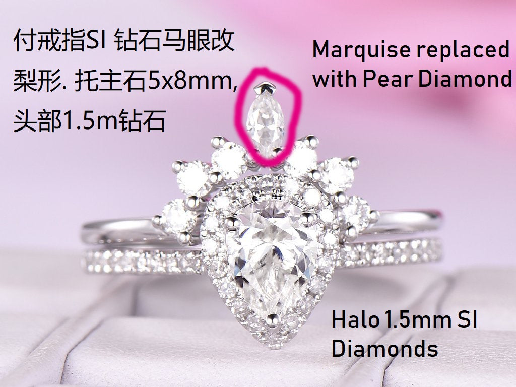 Reserved for AAA Pear Mount Ring Set Diamond Tiara Band 14K Rose Gold 5x8mm
