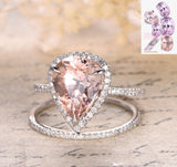 Pear Morganite Engagement Ring Sets Pave Diamond Wedding 14K White Gold 10x12mm - Lord of Gem Rings - 1