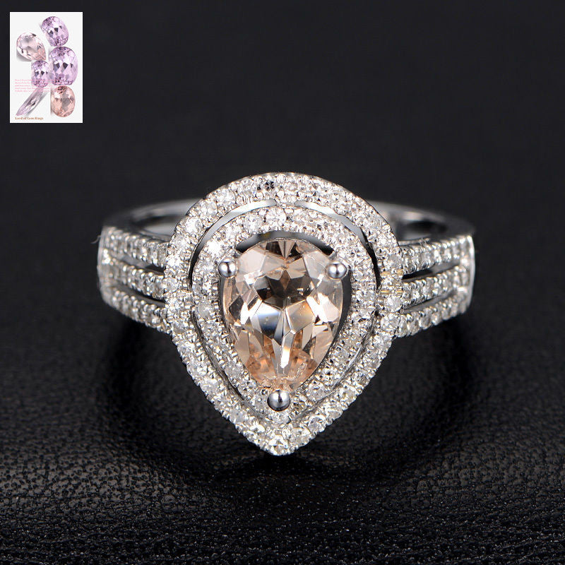 Pear Morganite Engagement Ring Pave Diamond Wedding 14K White Gold 6x8mm Double Halo - Lord of Gem Rings - 1