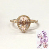 Pear Morganite Engagement Ring Pave Diamond Wedding 14K Rose Gold 6x8mm - Lord of Gem Rings - 1