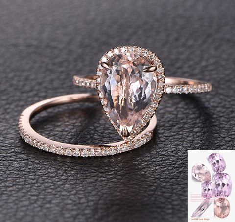Pear Morganite Engagement Ring Sets Pave Diamond Wedding 14K Rose Gold 8x12mm - Lord of Gem Rings - 1