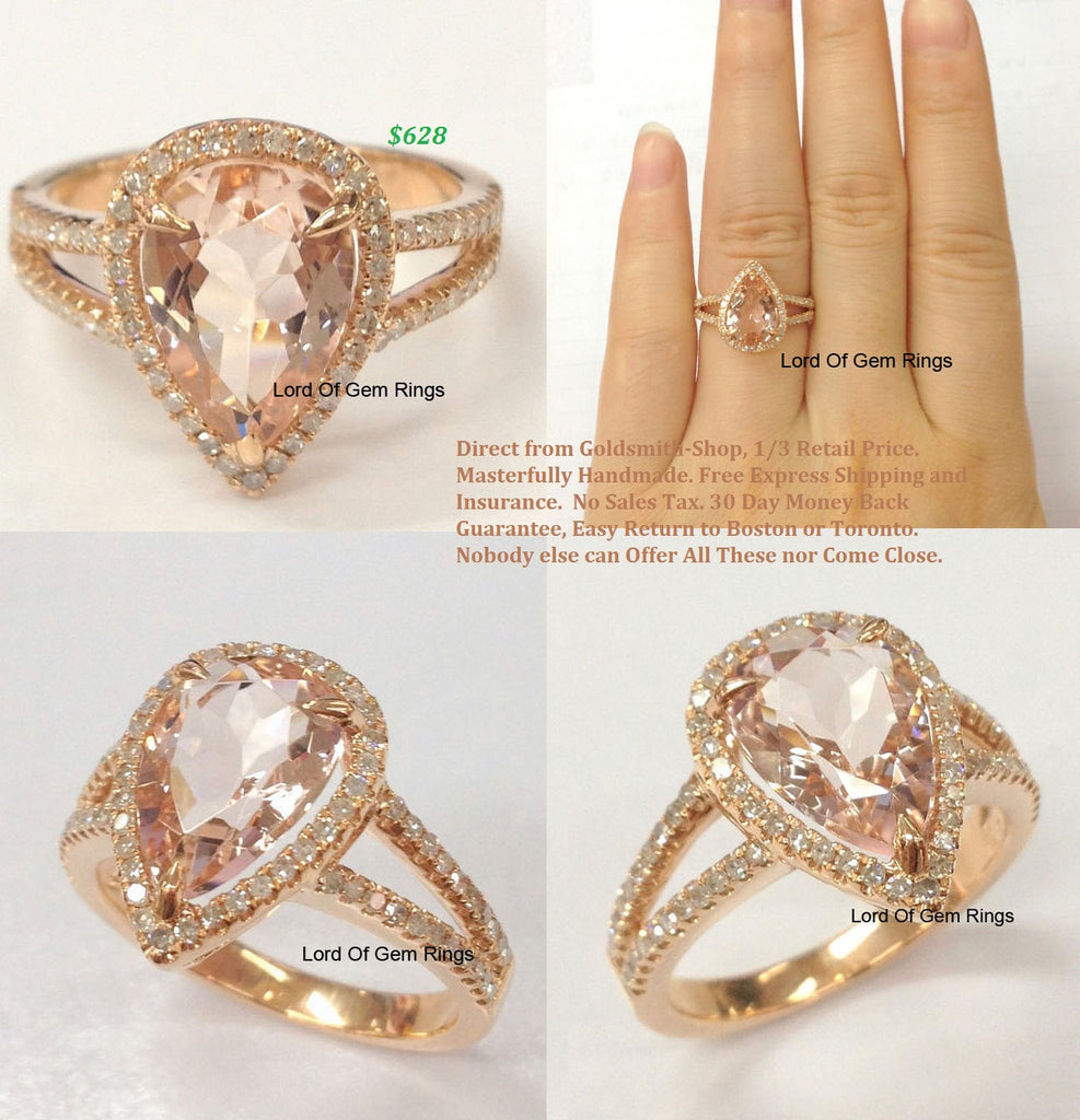 Ready to Ship: Pear Morganite Engagement Ring Pave Diamond Wedding 14K Rose Gold 8x12mm: 14KR-PMorg-Slim - Lord of Gem Rings - 1