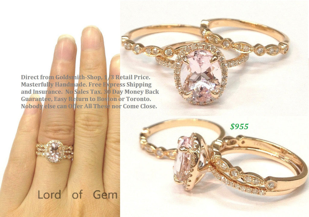 Reserved for invoke25 Oval Morganite Engagement Ring Trio Set 14K Rose Gold 7x9mm - Lord of Gem Rings - 1