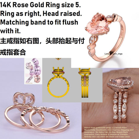 Reserved for pop Heart Morganite Ring Bridal Set Diamond Art Deco Band 14K Rose Gold 9mm
