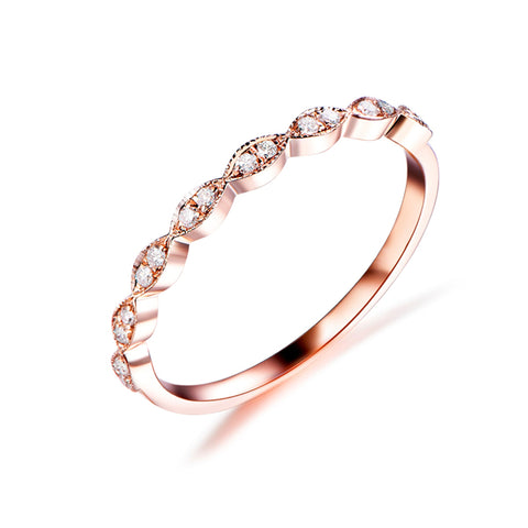 Marquise Milgrain Pave Diamond Wedding Band Half Eternity Ring 14K Rose Gold