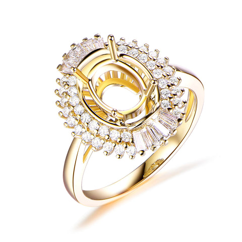 Oval 7x9mm Baguette and Round Diamond Double Halos Semi Mount Ring 14K Yellow Gold Setting