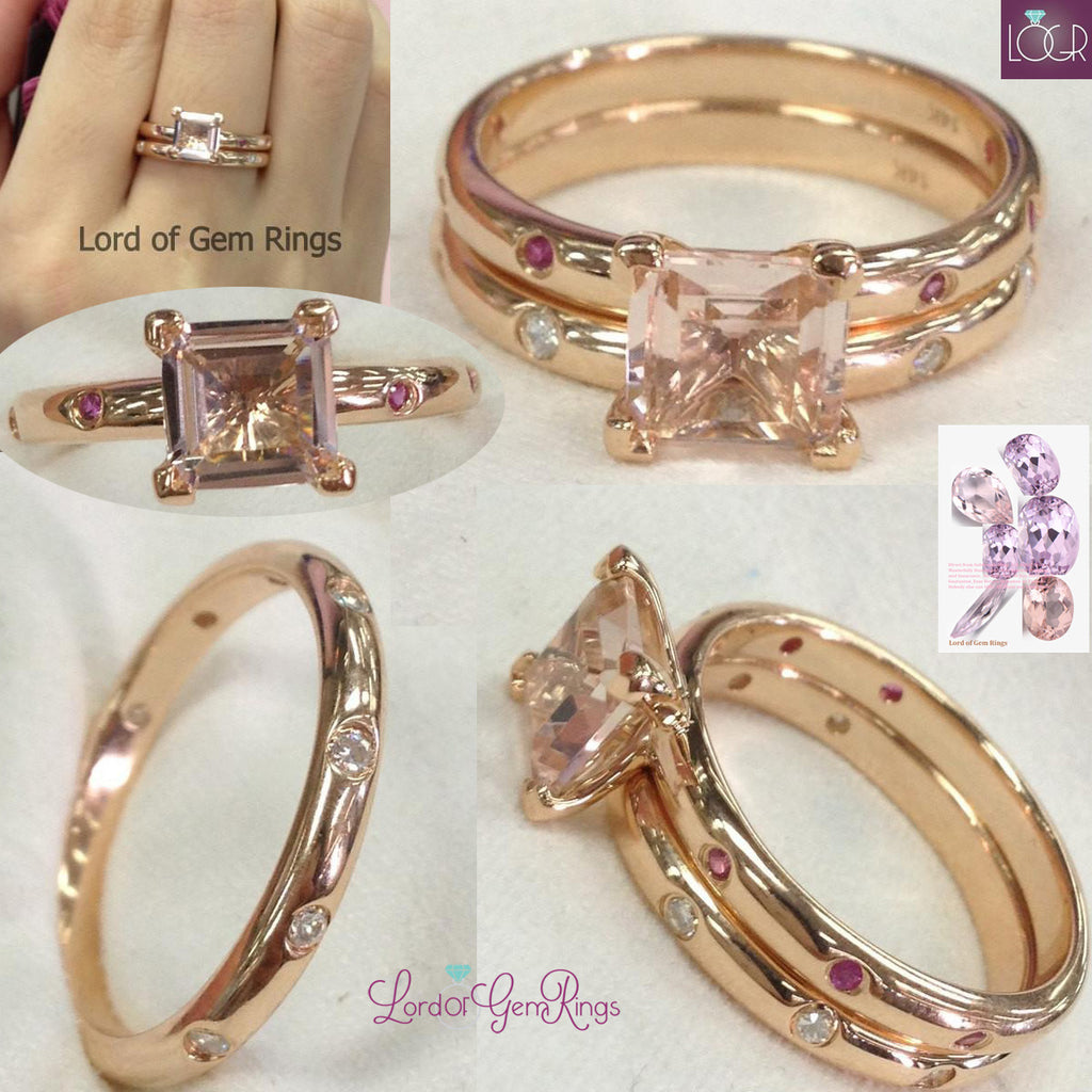 Princess Morganite Wedding Ring Sets Bezel Ruby Moissanite Band 14K Rose Gold 7mm
