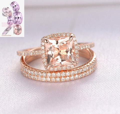 Princess Morganite Engagement Ring Diamond Wedding Ring Trio Bridal Sets 14K Rose Gold 7mm,Cushion Halo - Lord of Gem Rings - 1