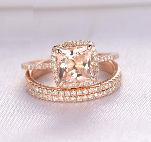Reserved for Ben-Princess Morganite Ring Trio Sets  Diamond Wedding Band 14K Rose Gold 7mm,Cushion Halo