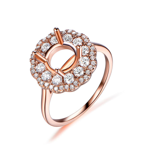 Engagement Semi Mount Ring Layered Diamond Double Halo 14K Rose Gold Round 6.5mm Plain Band