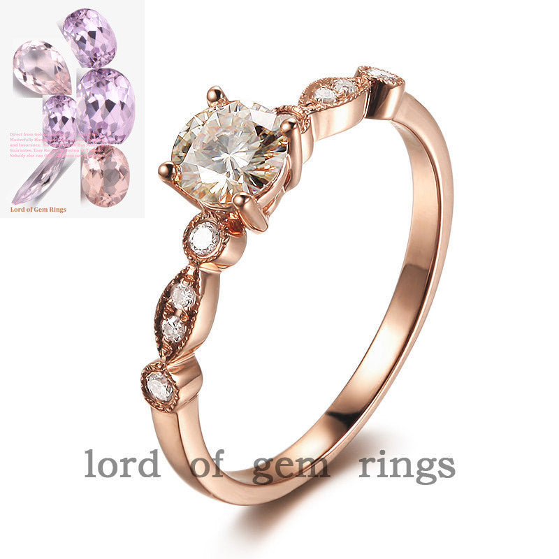 Round Moissanite Engagement Ring Pave VS Diamond Wedding 14K Rose Gold 5mm  Art Deco - Lord of Gem Rings - 1