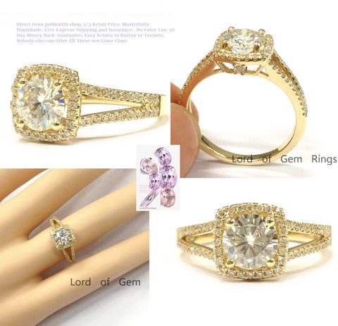 Round Moissanite Engagement Ring Pave Diamond Wedding 14K Yellow Gold 6.5mm, Cushion Halo - Lord of Gem Rings - 1